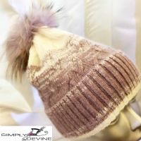 Purple warm winter pom pom hat PA01